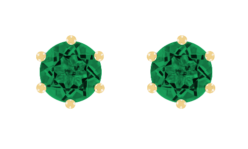 Gemstone Stud Earring 6-Prong Setting with a green Emerald in Yellow Gold