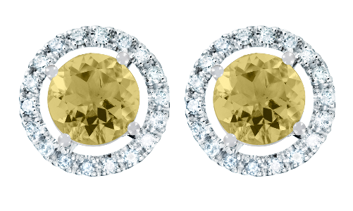 Gemstone Stud Earring Halo Setting with a yellow Sapphire  in White Gold