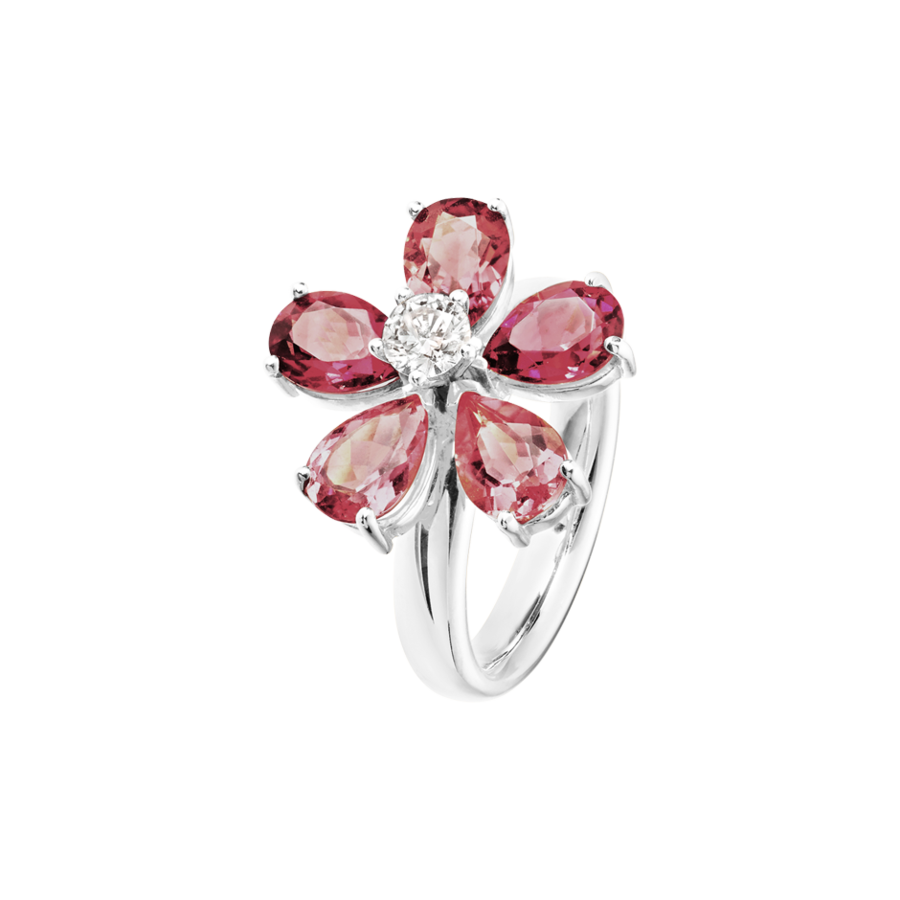 Flowers Ring Tourmaline in White Gold