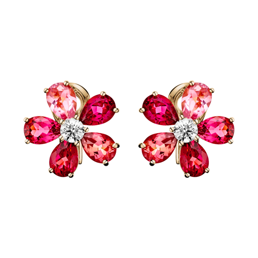 Flowers Stud Earrings Tourmaline in Rose Gold