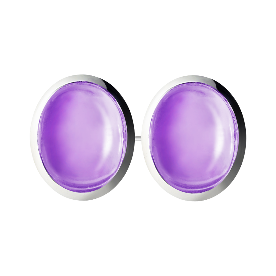 Gents Cufflinks Amethyst in White Gold