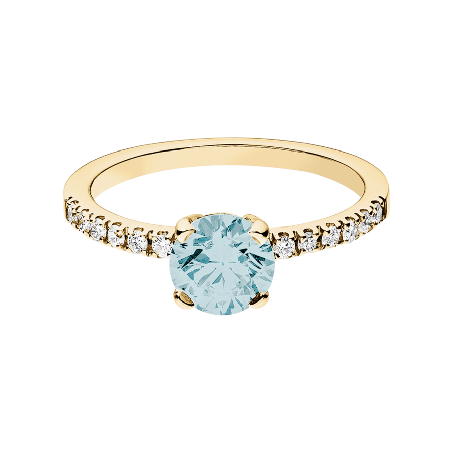 Melbourne Aquamarine blue in Yellow Gold