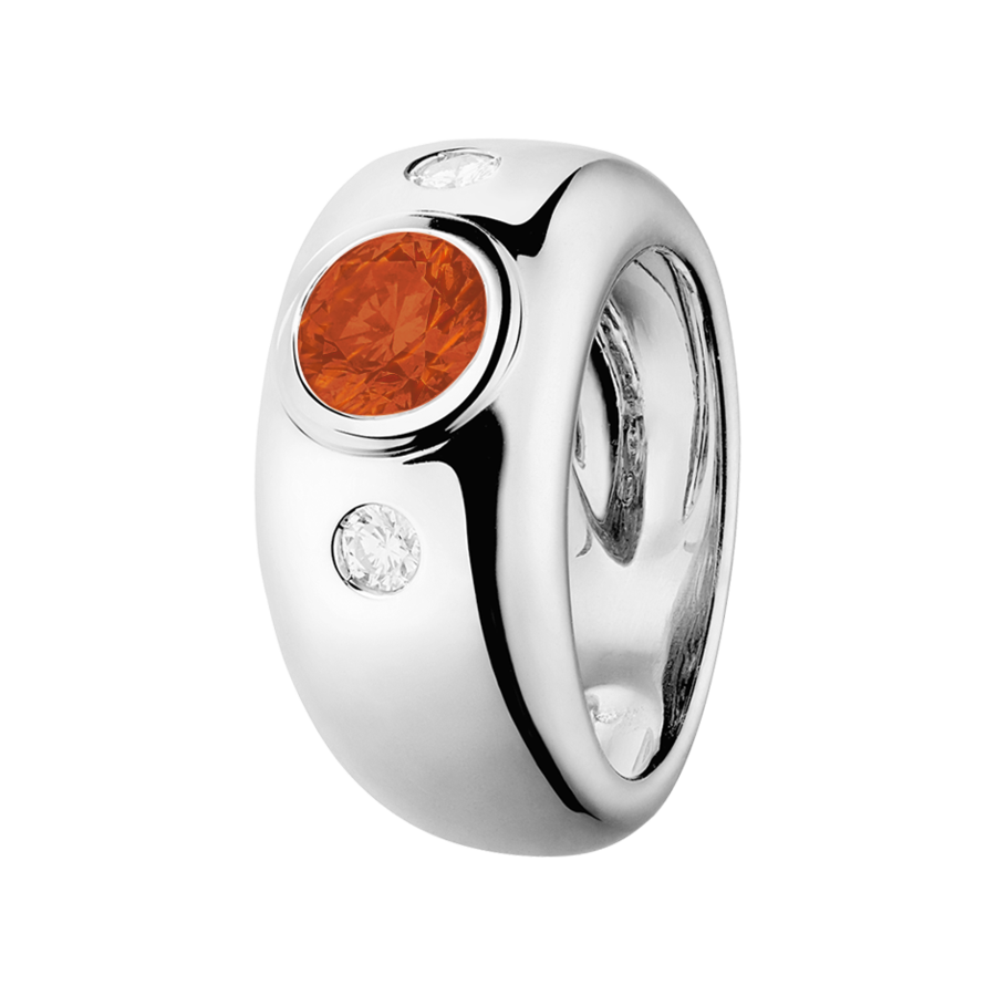 Naples Feueropal orange in Weißgold