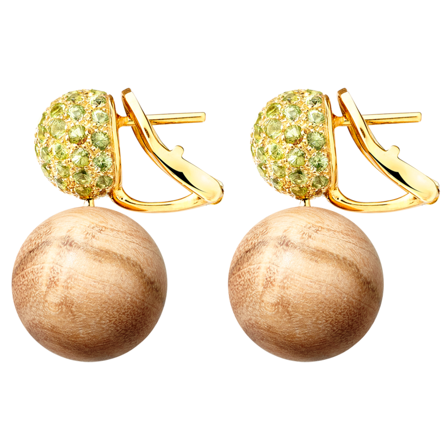 Ohrring Peridot & Olivenholz in Roségold