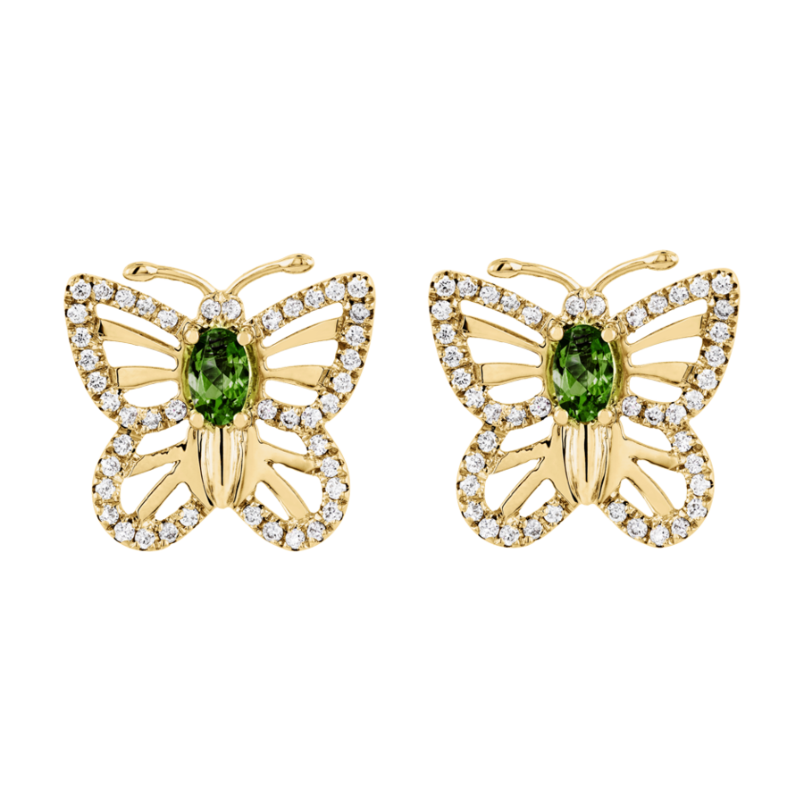 Papillon Stud Earrings Tourmaline green in Yellow Gold