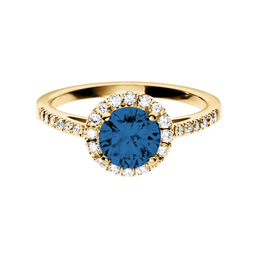 Prague Sapphire blue in Yellow Gold