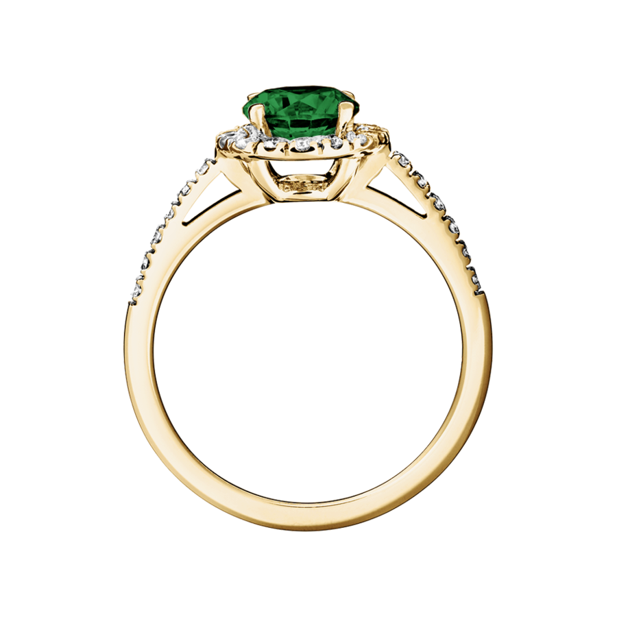 Prague Tourmaline green in Yellow Gold