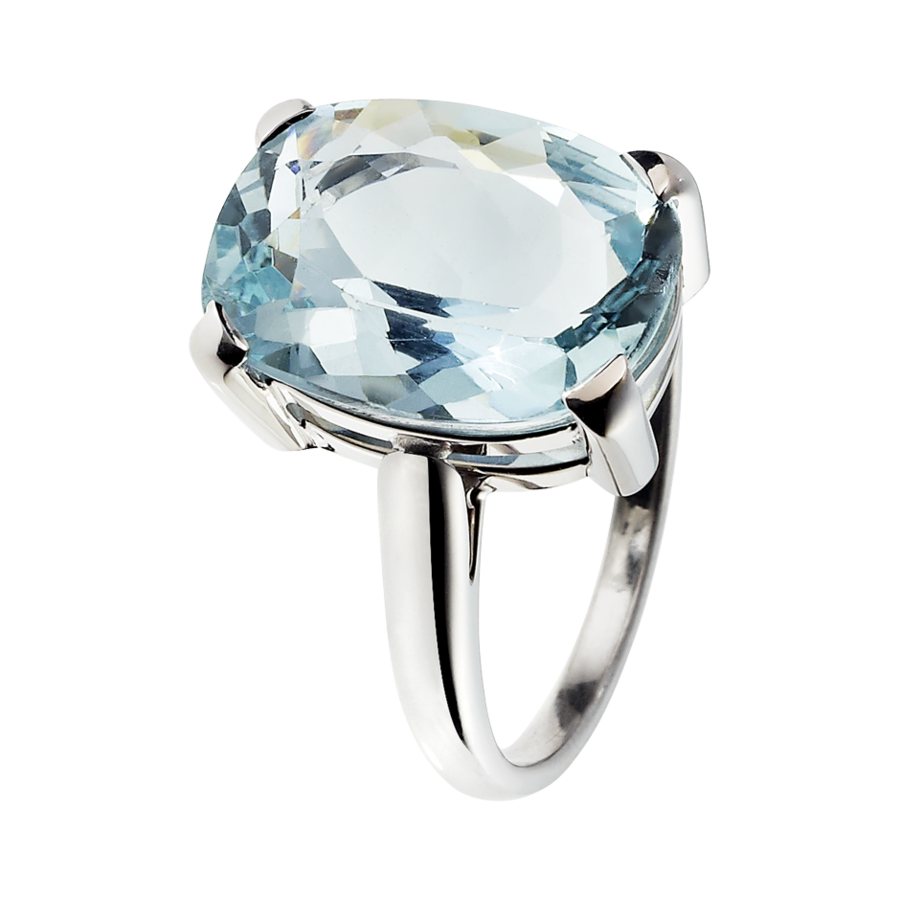 Rocks Antique Cut Ring in White Gold