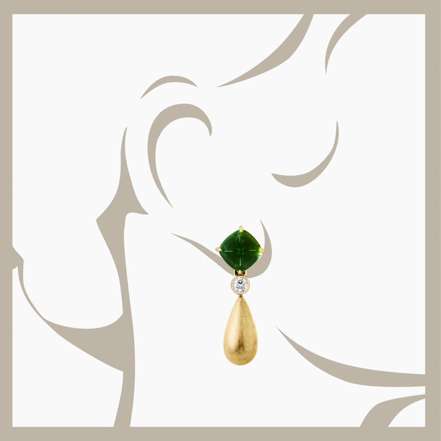 Sugar Loaf Earrings Tourmaline green in Yellow Gold