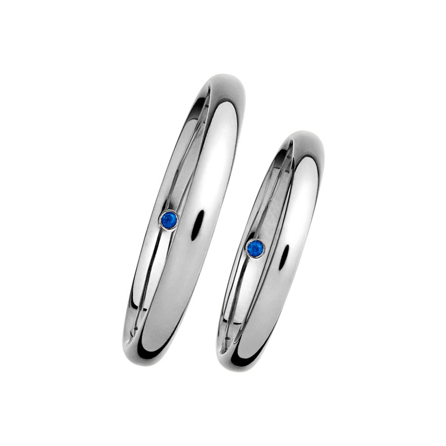 Wedding Rings with Sapphires in White Gold