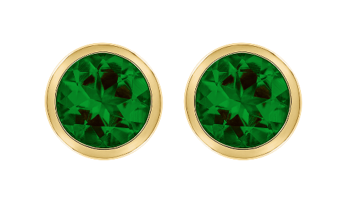 Gemstone Stud Earring Bezel Setting with a green Tourmaline in Yellow Gold