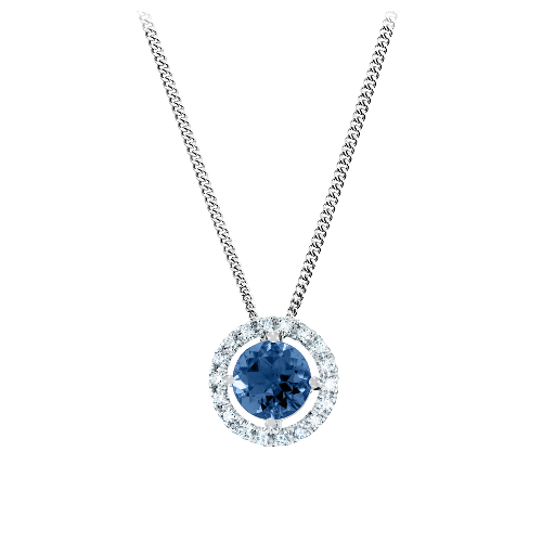 Pendant Halo Setting with a blue Sapphire