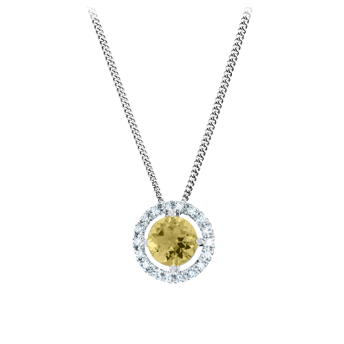 Pendant Halo Setting with a yellow Sapphire