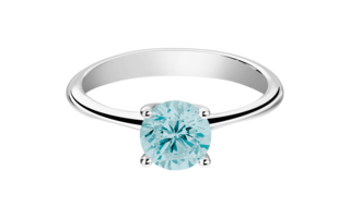 Gemstone Ring Basel Aquamarine blue in White Gold