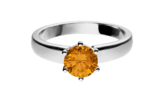 Gemstone Ring Malmö Madeira Citrine orange in White Gold