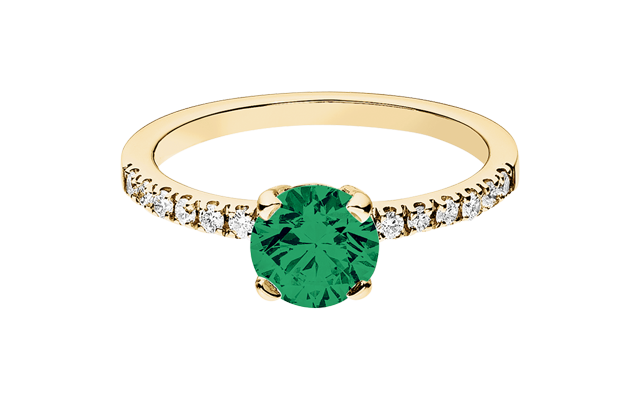 Gemstone Ring Melbourne Emerald green in Yellow Gold