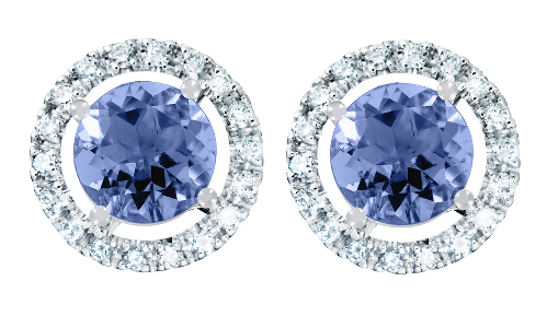 Gemstone Stud Earring Halo Setting with a blue Tanzanite in White Gold