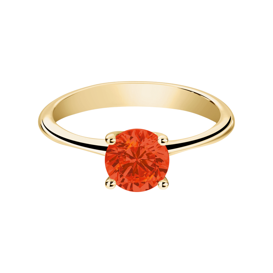Basel Fire Opal orange in Yellow Gold