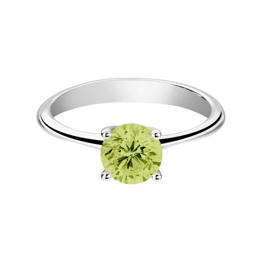 Basel Peridot green in Platinum