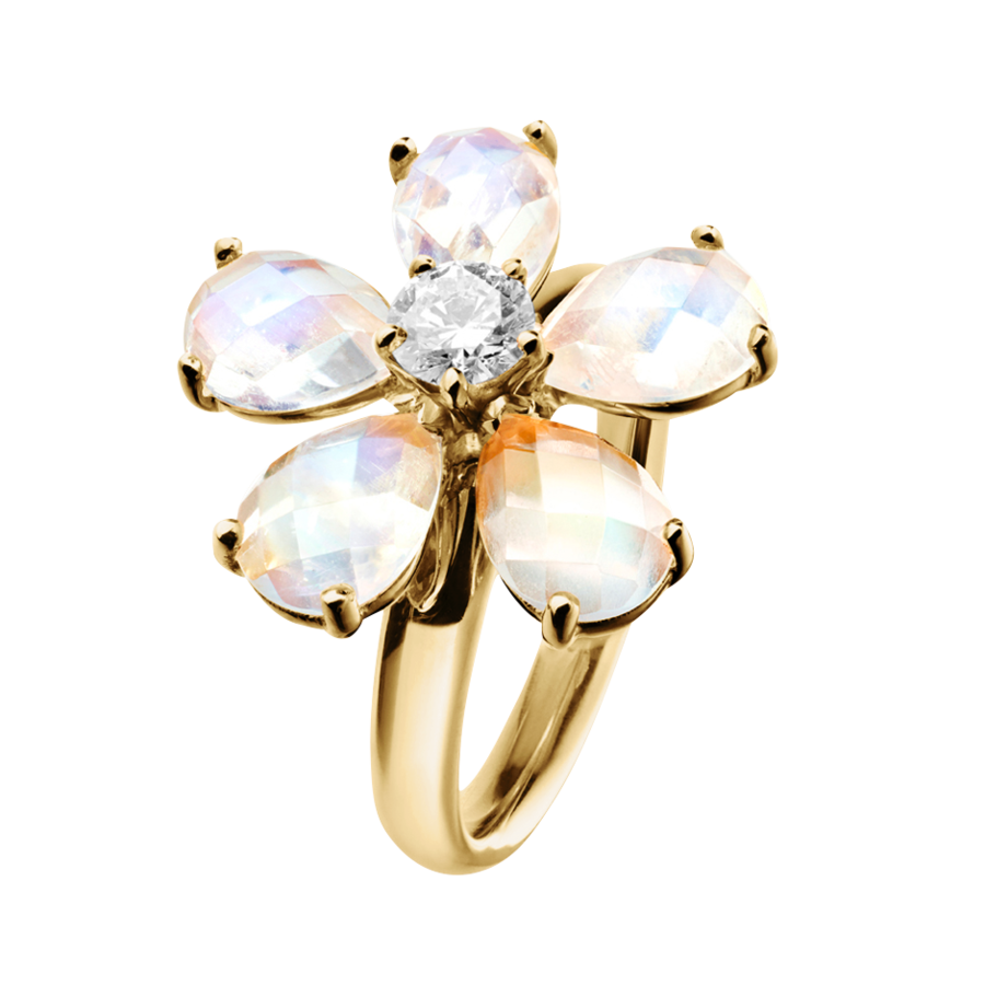 Flowers Ring Moonstone in Yellow Gold