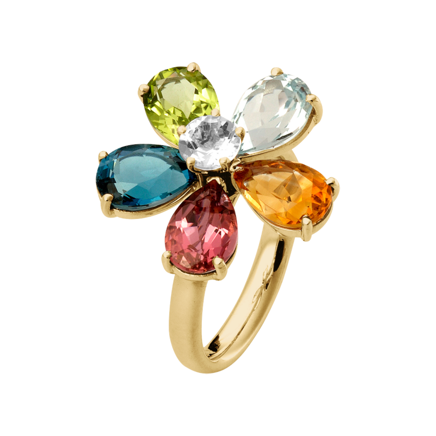 Flowers Ring in Yellow Gold