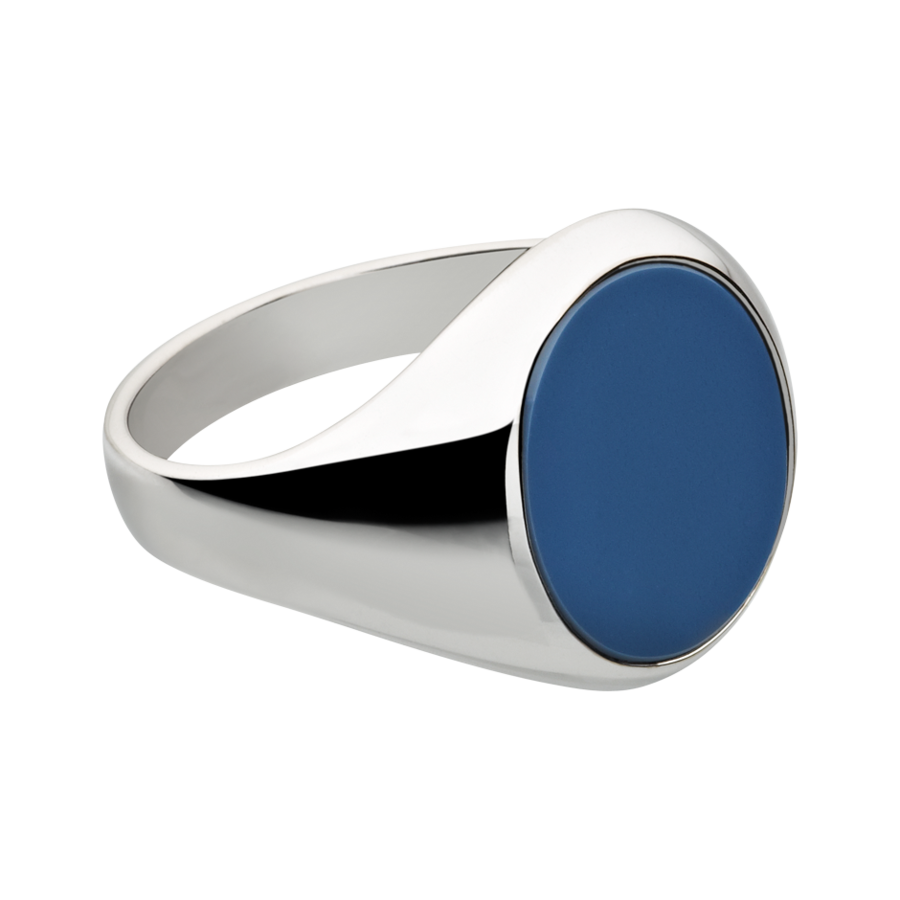 Gents Signet Ring Banded Stone large in White Gold
