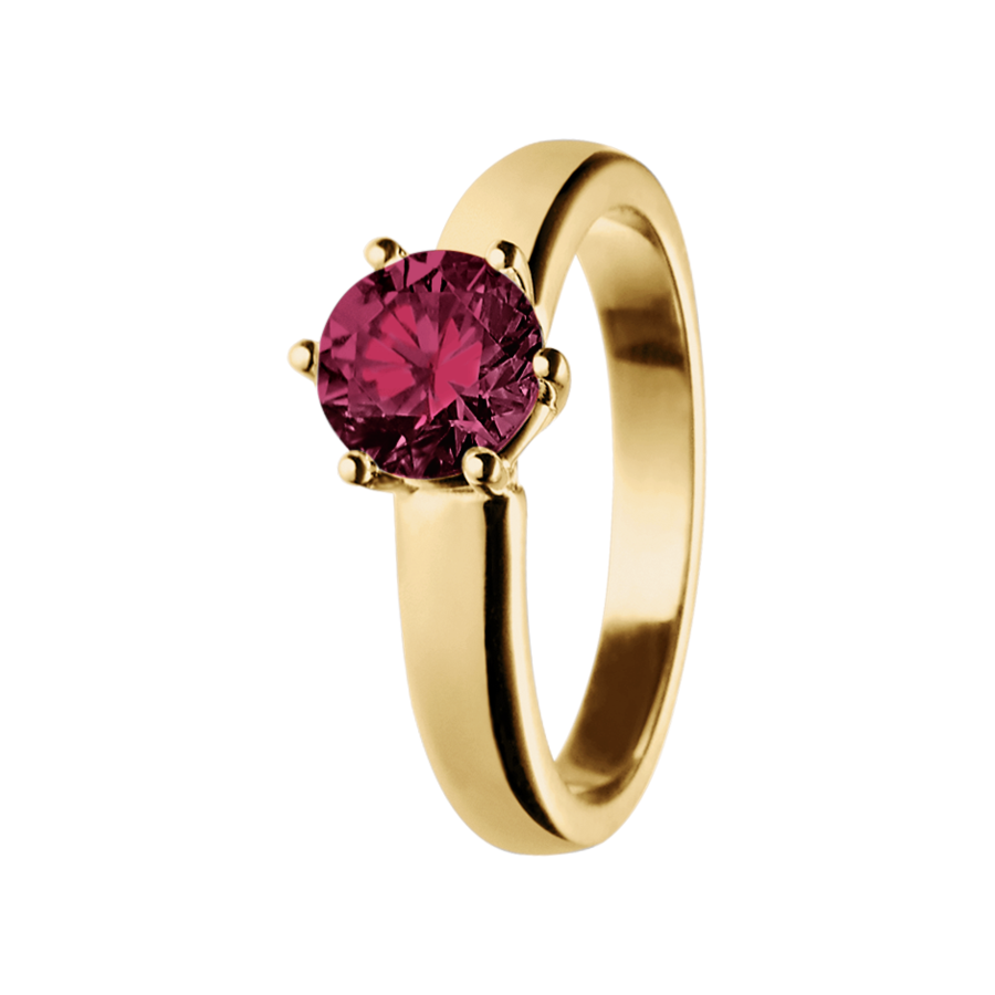 Malmö Rhodolite red in Yellow Gold