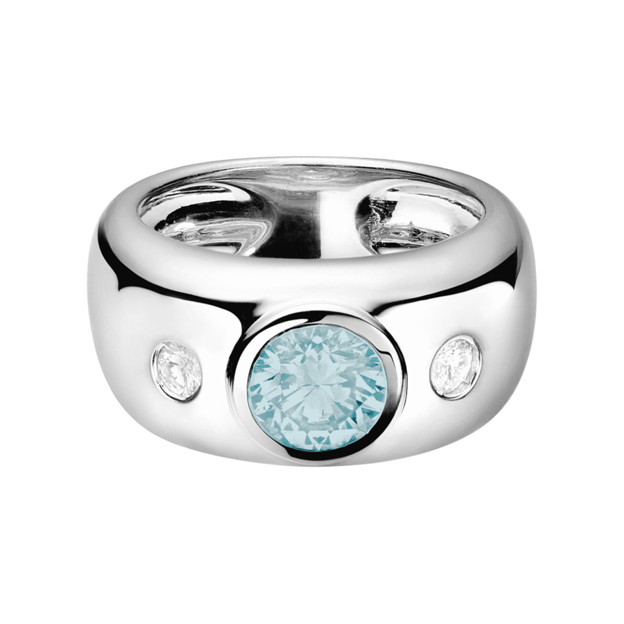 Naples Aquamarine blue in Platinum