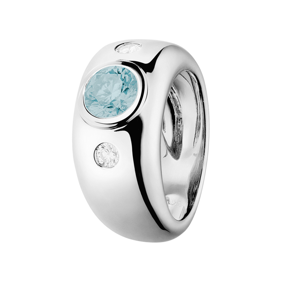 Naples Aquamarine blue in White Gold