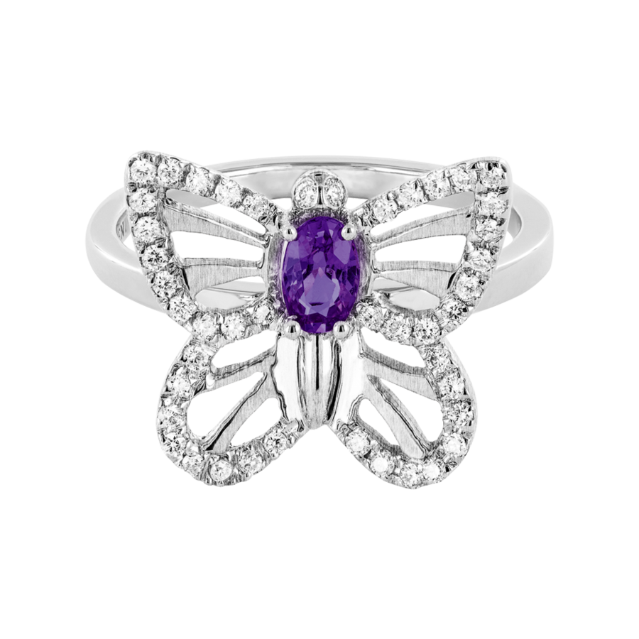 Papillon Ring Amethyst in Weißgold