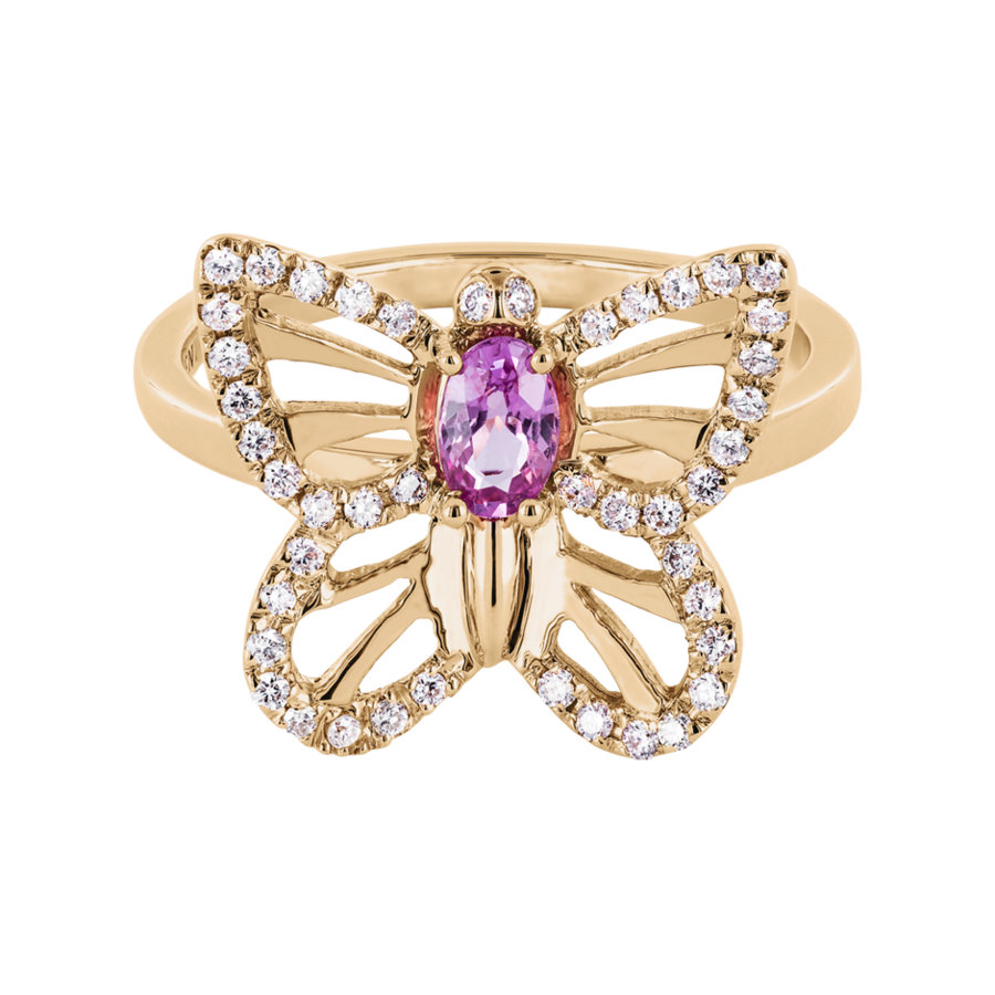 Papillon Ring Sapphire pink in Rose Gold