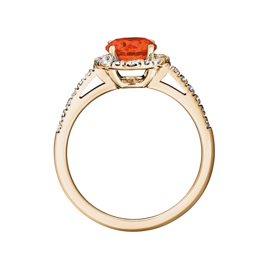 Prague Fire Opal orange in Rose Gold