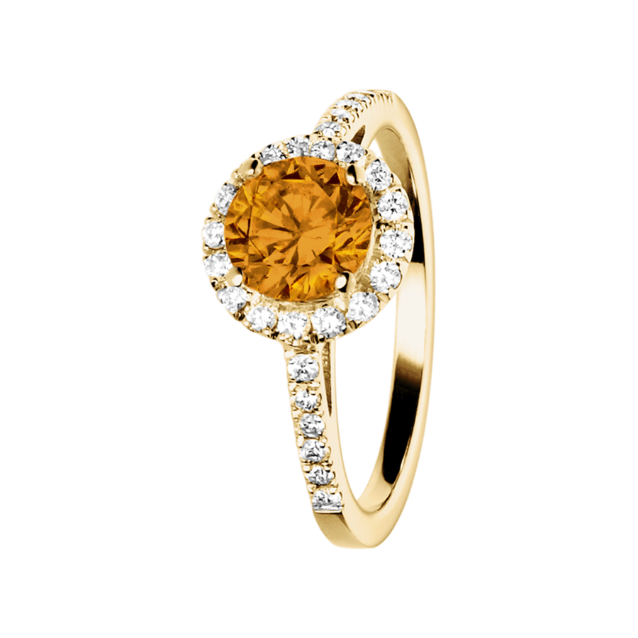 Prague Madeira Citrine orange in Yellow Gold