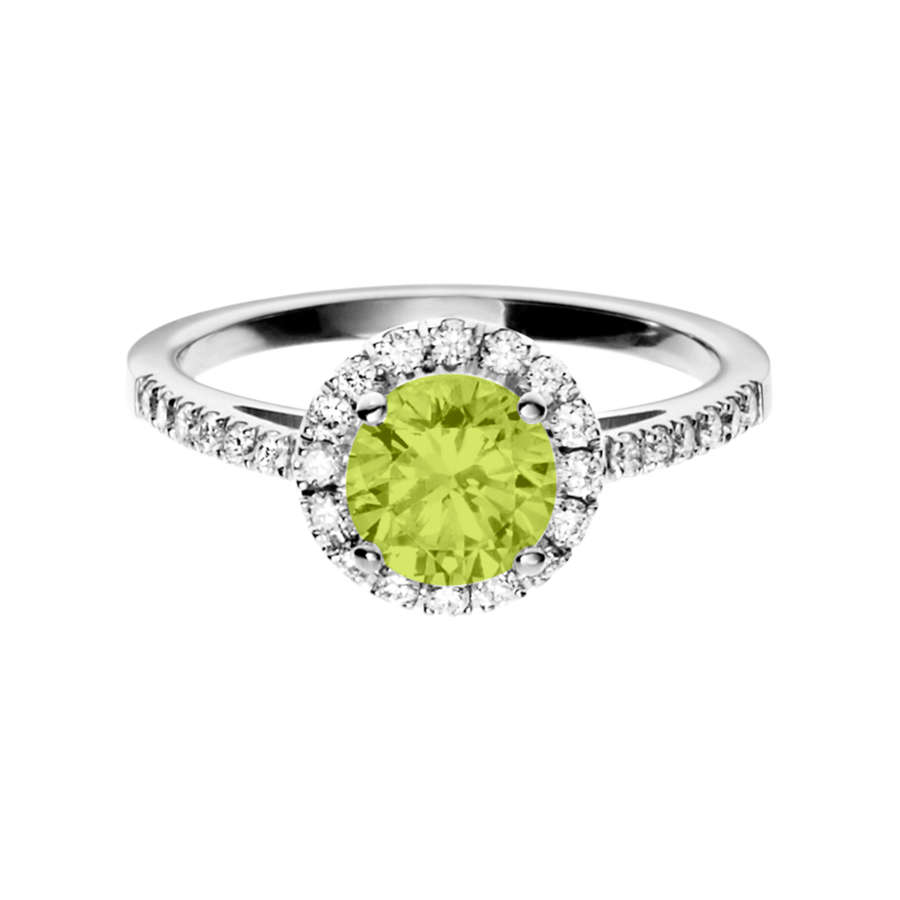Prague Peridot green in Platinum
