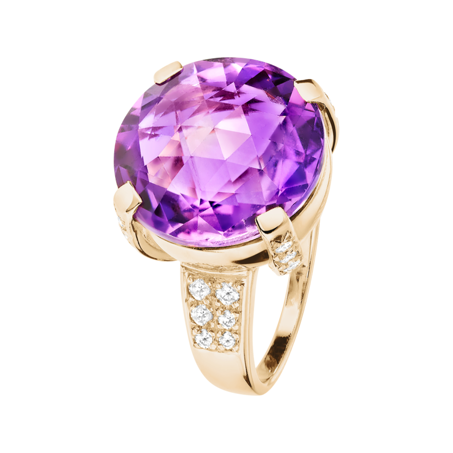 Rocks Cocktail Ring with Brilliants in Rose Gold