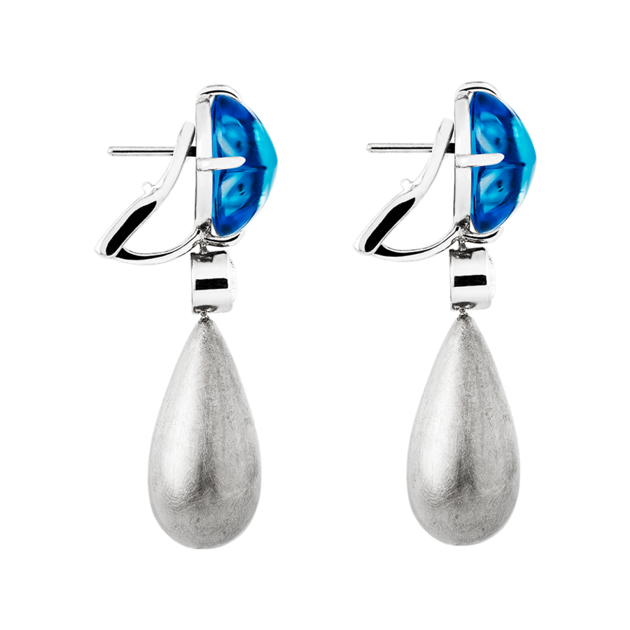 Sugar Loaf Earrings Swiss Blue Topaz in White Gold