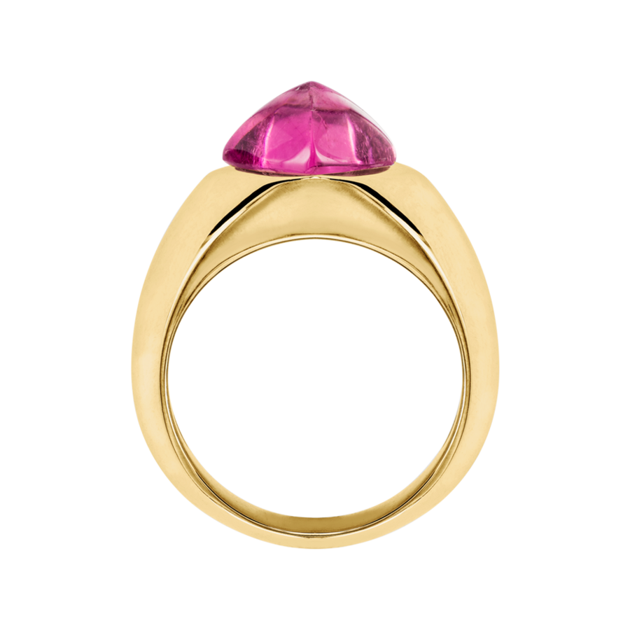 Sugar Loaf Ring Rubellite in Yellow Gold