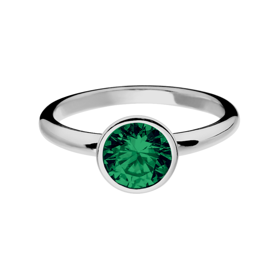 Vienna Emerald green in White Gold