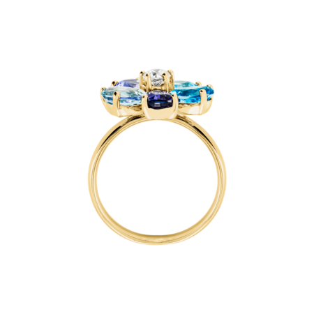 Flowers Ring blau in Gelbgold