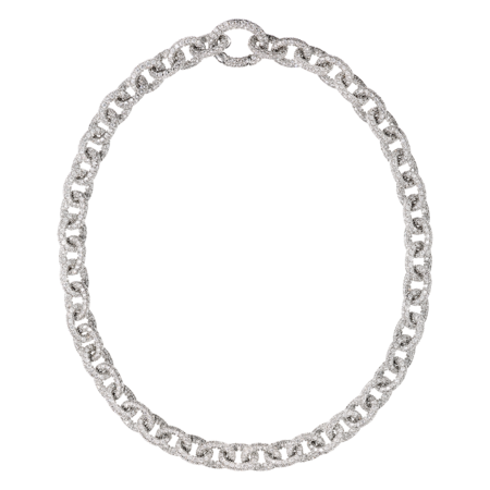 Anchor Chain Necklace White in White Gold