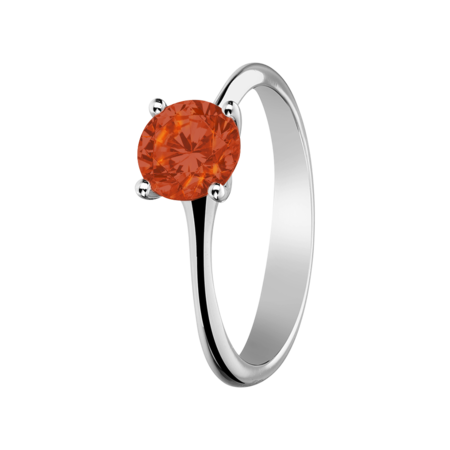 Basel Fire Opal orange in White Gold