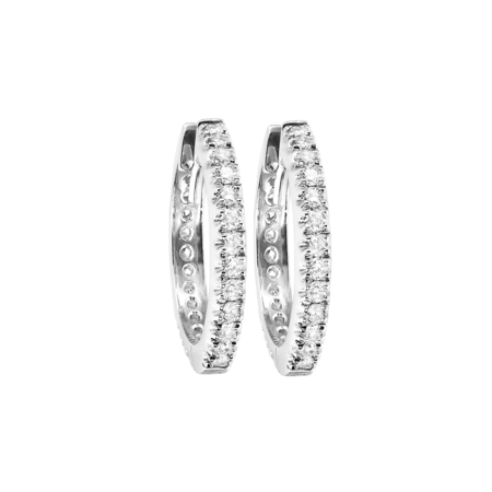 Diamond Hoop Earrings I in White Gold