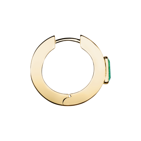 Emerald Hoop Earrings in Yellow Gold
