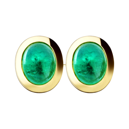 Gents Cufflinks Emerald in Yellow Gold