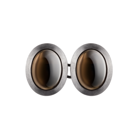 Gents Cufflinks Smoky Quartz in Palladium