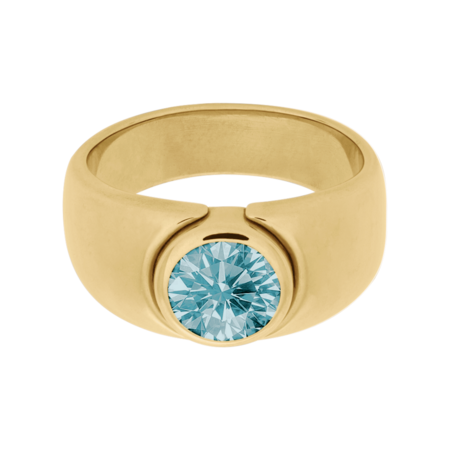 Mantua Aquamarine blue in Yellow Gold
