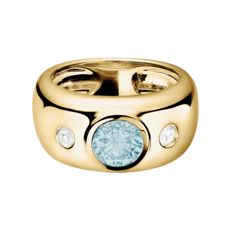 Naples Aquamarine blue in Yellow Gold