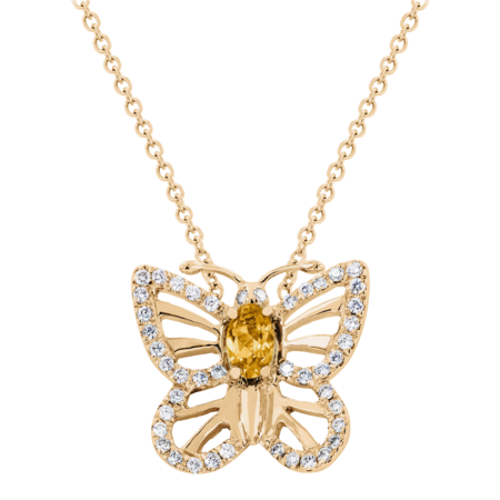 Papillon Necklace Citrine in Rose Gold