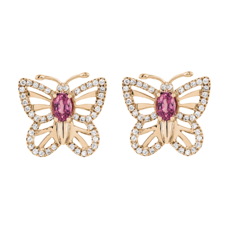 Papillon Stud Earrings Tourmaline pink in Rose Gold