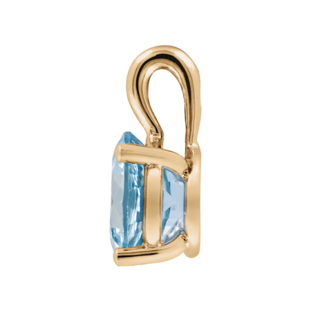 Pendant 3 Prongs Aquamarine blue in Rose Gold